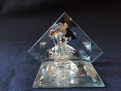 Glass Figurine On Mirror Teddy Bear With Golden Ears And Paws (ref P244)