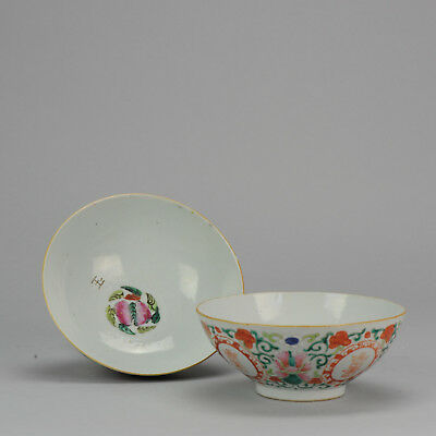 Perfect Pair 19C Chinese Porcelain Polychrome Bowls Flowers Symbol China