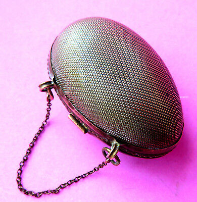 Antique  Sewing Egg-Thimble  Purse,brass,chain Handle.