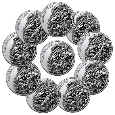 Lot of 10 2018 Republic of Chad African Lion 1 oz Silver GEM BU PRESALE SKU51643