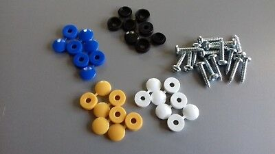 32 x NUMBER PLATE FIXING HINGED CAPS & SCREWS - BLACK / YELLOW / BLUE / WHITE