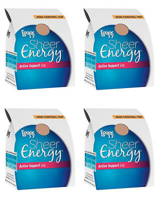 4 Pairs L'eggs Sheer Energy Active Support Regular Pantyhose