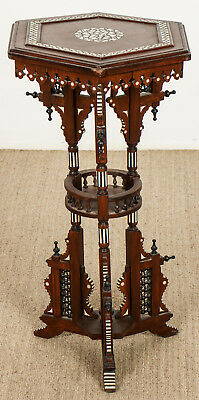Old Syrian Wood and Inlay Table Stand Lot 581