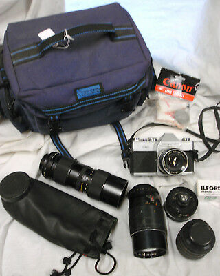 Mamiya/Sekor 500 DTL 35mm SLR Camera in case with 5 lens attachments