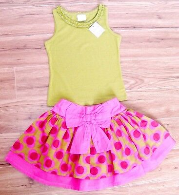 Bnwt Next Girls Top & Skirt 4-5 Yr New Holiday Party Flower Pink Green Christmas