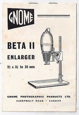 Gnome Beta II Enlarger instructions - Caerphilly Road, Cardiff 1960s
