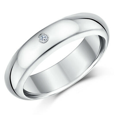 9 Ct Or Blanc Bague Diamant 6mm Brossé Bague Mariage 0.19pts Diamond Jewelry & Watches