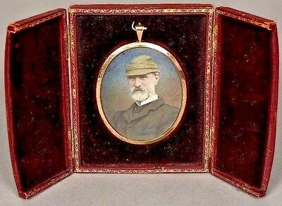 A late 19th/early 20th century miniature print of a bearded gentleman