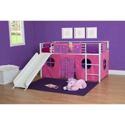 Princess Castle Loft Twin Bunk Bed Slide Kids Girls Furniture