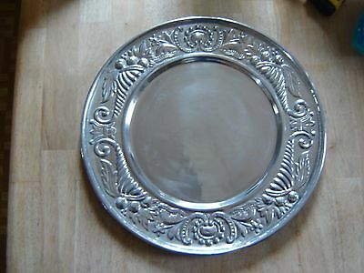 """Large Round Platter Serving Tray 16"""" Cast Aluminum? Pewter Silverplate Mariposa?"""