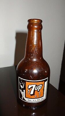 "Rare! AMBER BROWN 7UP BOTTLE, 7 OZ ""Fresh Up Drink"" Great Condition!"