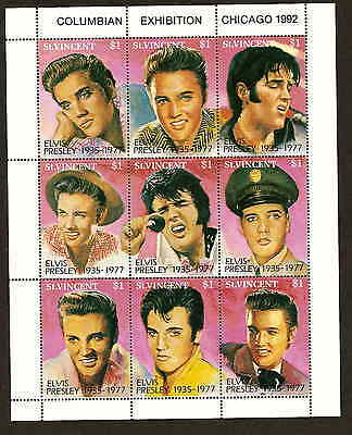 St. Vincent 1642 - Elvis Presley sheet of 9 stamps - issued 1992 - mint NH