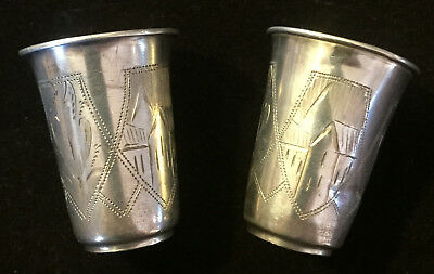 Antique Russian 84 Silver Jigger Shot Cups - set of 2 - HALLMARKED/STAMPED