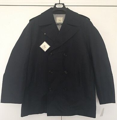 Brooks Brothers canvas pea coat men large XL Black cotton linen Double Breasted