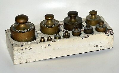 Antico Set Pesi Completo Ottone Bilancia Stadera Pesa Old Brass Weights Scales