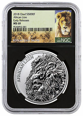 2018 Republic of Chad African Lion 1 oz Silver 5,000F NGC MS69 ER Black SKU51648