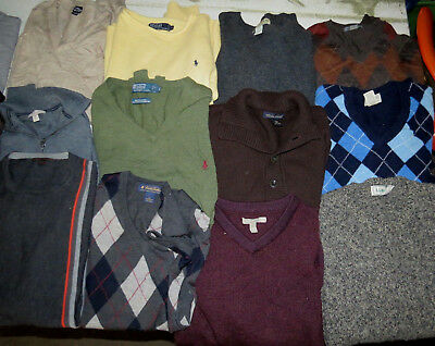 Lot Of Mens 21 Wool Sweaters Name Brands Polo Golf Polo Brooks Ll Bean Orvis
