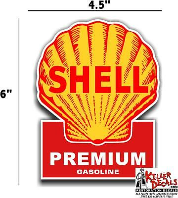 "(shell #4) 6"" SHELL gasoline pump LUBSTER DECAL GAS OIL SIGN WALL STICKER"