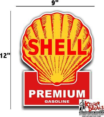 "(shell #4) 12"" SHELL gasoline pump LUBSTER DECAL GAS OIL SIGN WALL STICKER"