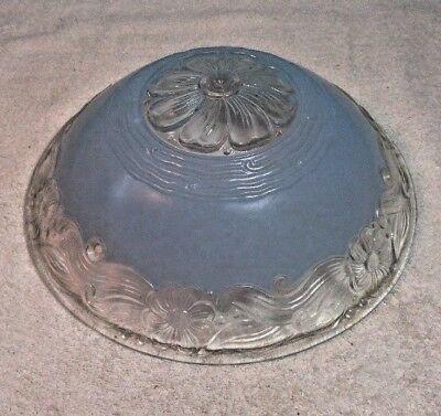 Vintage/Antique BLUE Art Deco Ceiling Light Fixture Lamp Shade Glass 3 hole 11""
