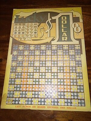 Vintage Lucky 5 Cent Punch Board Unpunched 9X12 Bar Very Rare (HL)