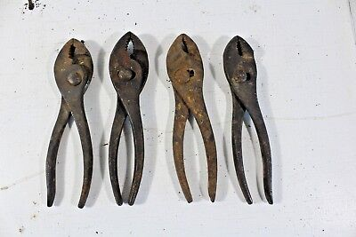 Vintage Round Head Pliers Lot of 4 Some rust All move well No Brands on them