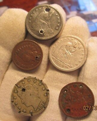 Lot of 5 holed coins (2 seated quarters)