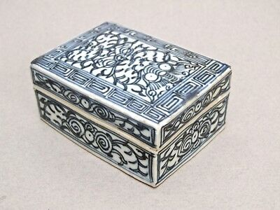 Antique Chinese Porcelain Blue And White Porcelain Seal Script Box Qing Dynasty