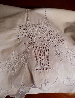 ~Pair Antique Estate Madeira Pillowcases~Eyelet Embroidered Baskets~Quality~