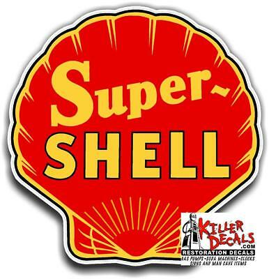 "(shell #14) 12"" SUPER SHELL gasoline pump LUBSTER DECAL GAS OIL WALL STICKER"