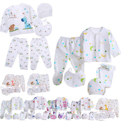 5Pcs Newborn Baby Girl Boys Unisex Long Sleeve Pants Clothes Grow Outfit 0-3M