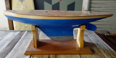 Pond Yacht, vintage hollow wooden pond boat, weighted keel, includes stand.