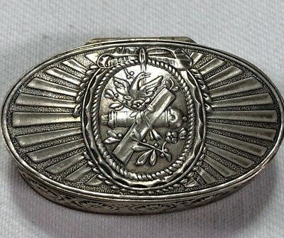 19c French Sterling Silver Decree Weevil Military Crest Snuff Box Cannon Eagle