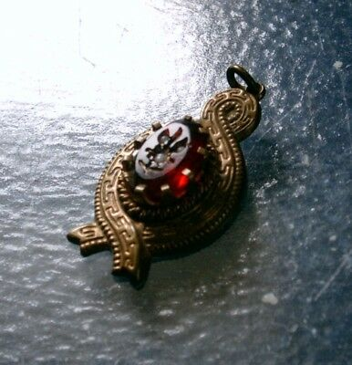 Vintage Victorian Brass Pendant with Red Glass Cabochon, Carved Flower Design