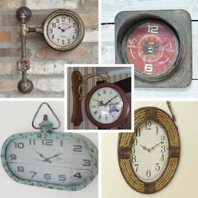 Wall Clocks Vintage Industrial Metal Oval Analogue Hanging living rooms kitchen