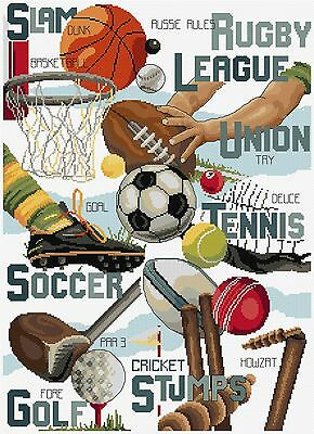Sports Sampler - Cross Stitch Chart by Country Threads-Rugby, Soccer, Golf, etc