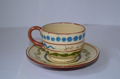 Antique Aller Vale Torquay Pottery Cup And Saucer With Motto