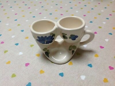 Babbacombe Pottery / Toni Raymond Style DOUBLE EGG CUP With Groove For Salt 1960