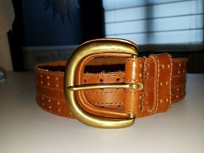 Christian Dior Women's M/L Imported English Saddle Leather Wide Belt W/Brass