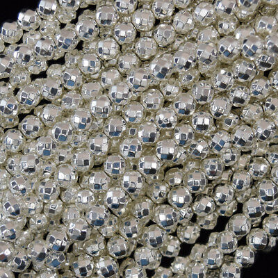 """Faceted Bright Silver Hematite Round Beads 15.5"""" Strand 2mm 3mm 4mm 6mm 8mm 10mm"""