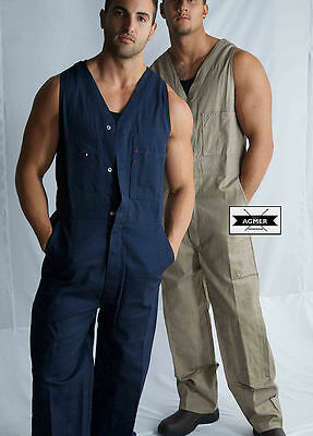 Mens Cotton Drill Action Back Overall Work Wear Safety Painter Mechanic Cheap