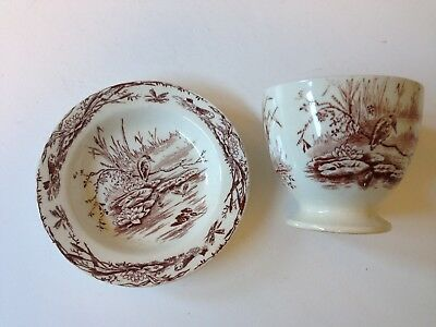 Victorian Aesthetic Night Heron Cup and Dish T. Elsmore & Son