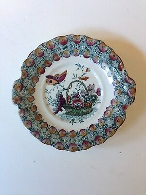 English Victorian Polychrome Flowers & Butterfly Child's Plate