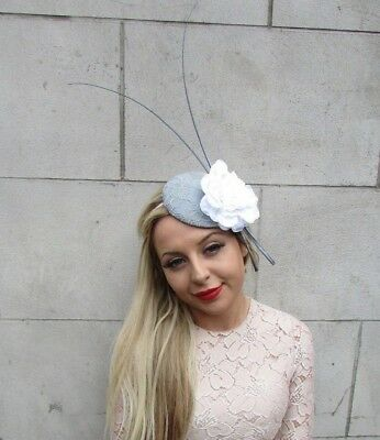 Grey White Quill Feather Rose Flower Pillbox Hat Fascinator Races Ascot 5259