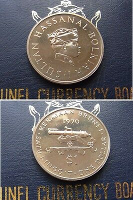 Brunei. 1970 One Dollar.. In Official Case..  PROOF