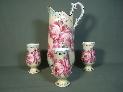 Vintage Floral Pitcher Three Cups With Gold Trim Made In France