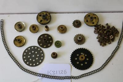 meccano gears cogs nuts bolts chain handy bits   [k31126]