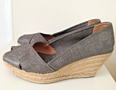 daf408058 TORY BURCH Filipa Metallic Gray Woven Wedge Espadrilles Sz 10 beach cruise