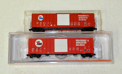 2 x Fox Valley/MicroTrains N Scale Providence & Worcester 50' Boxcars