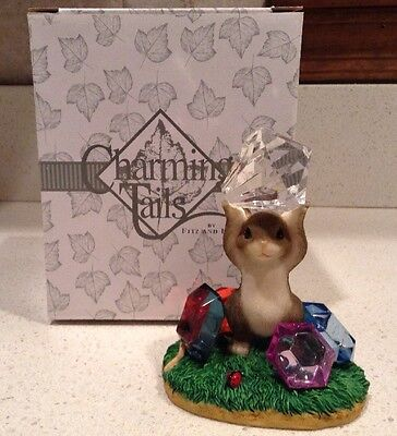 "Charming Tails ""You're a Real Gem"" Figurine NEW Diamond Engagement Mouse Fitz"